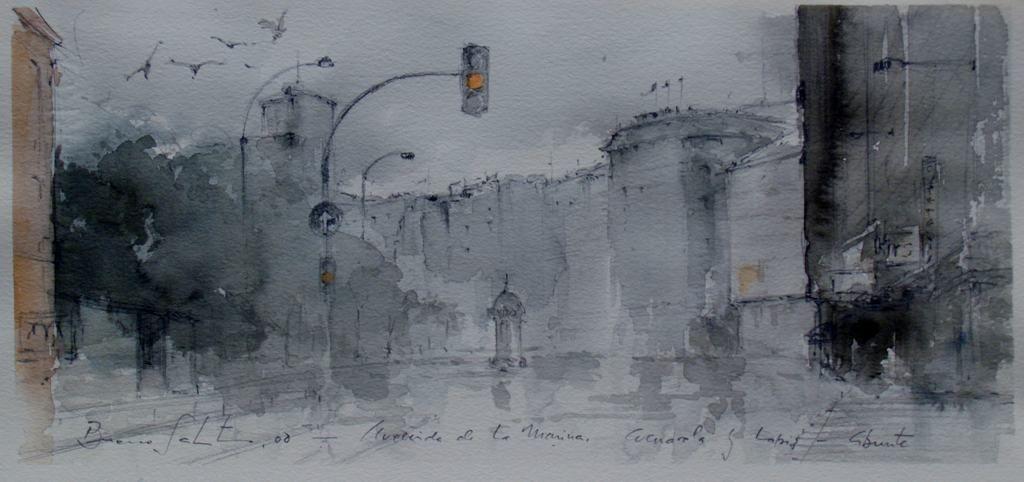 """""""Avenida de la Marina, Coruña"""", acuarela sobre papel. Pedro Bueno Salto"""