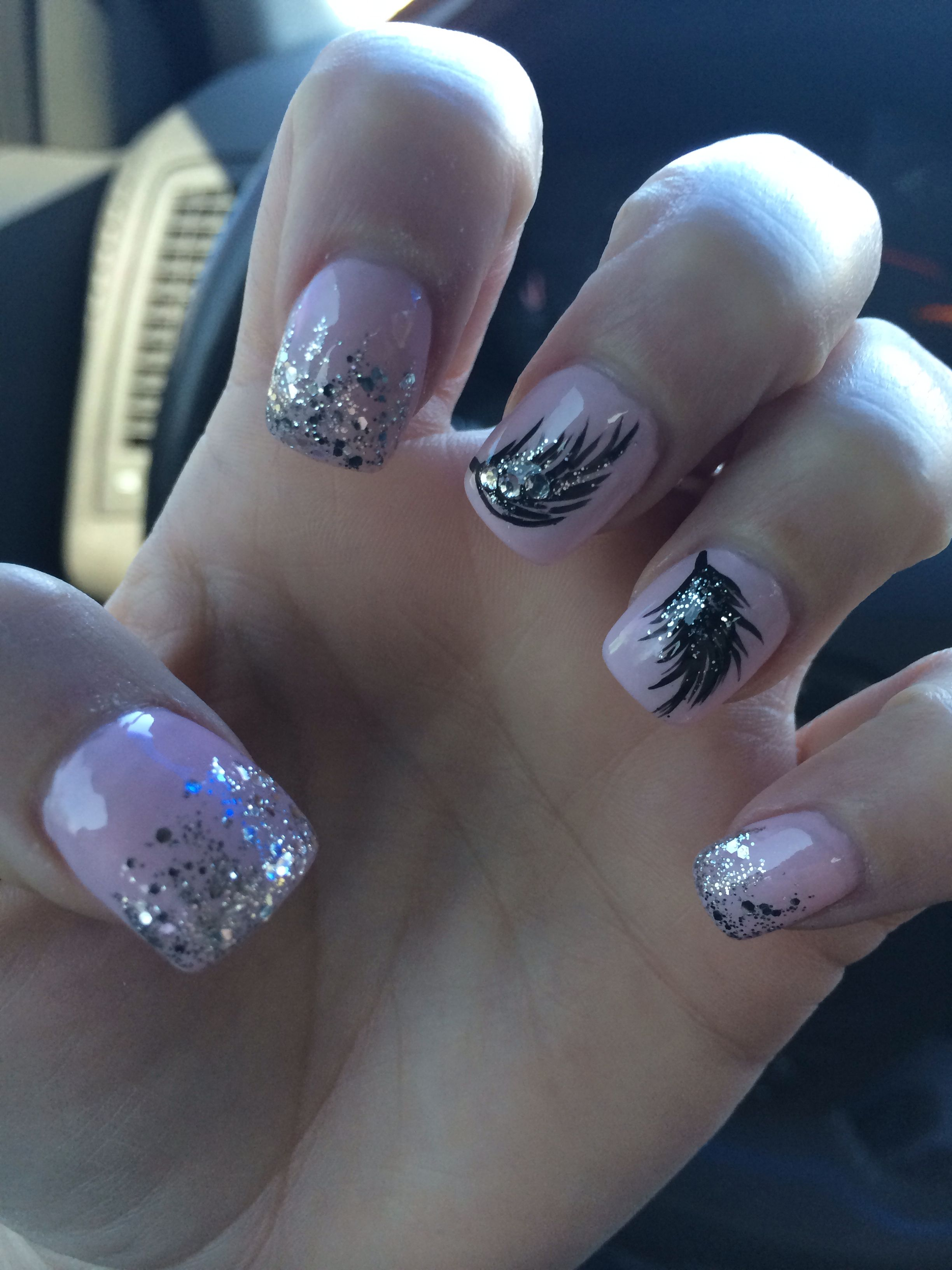 Feather glitter nail designs! | nails and toenail designs ...