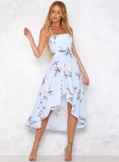 Photo of Spaghetti Strap Backless Floral High Low Dress – STYLESIMO.com