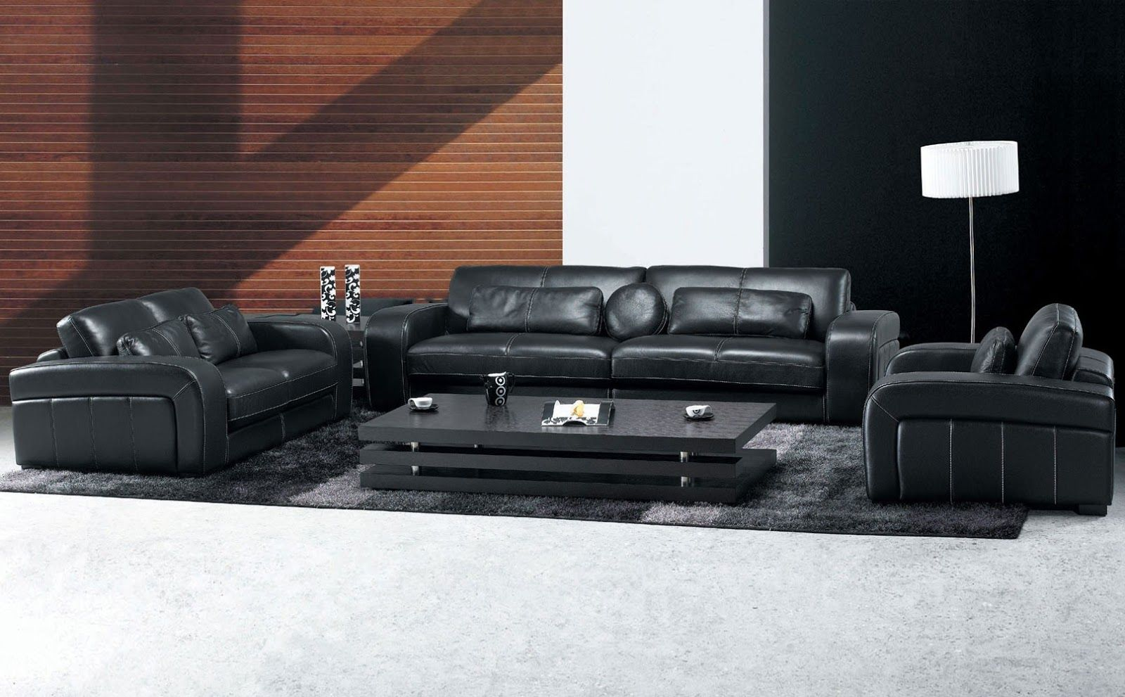 Living Room con muebles de Cuero Negro . Estoy seguro de que he ...