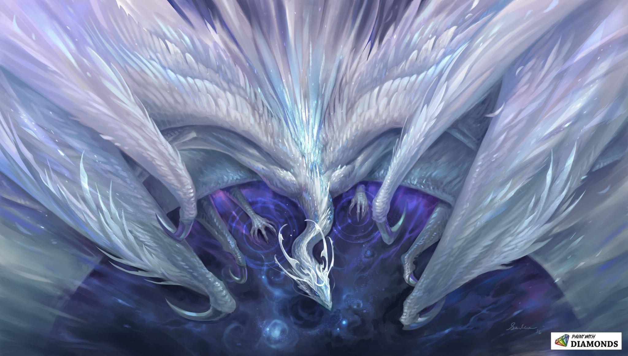 White Crystal Dragon | ,✨g in 2019 | Crystal dragon, White