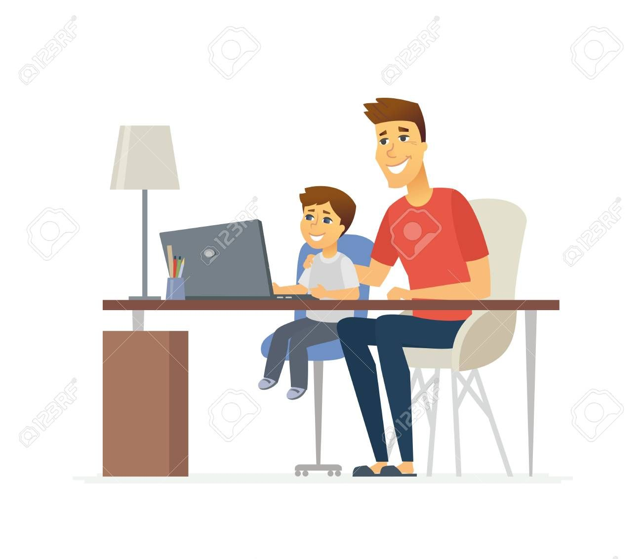 Father And Son At The Laptop Cartoon People Characters Illustration Isolated On White Background Y Vintage Logo Design Cartoon People Learn Computer Science