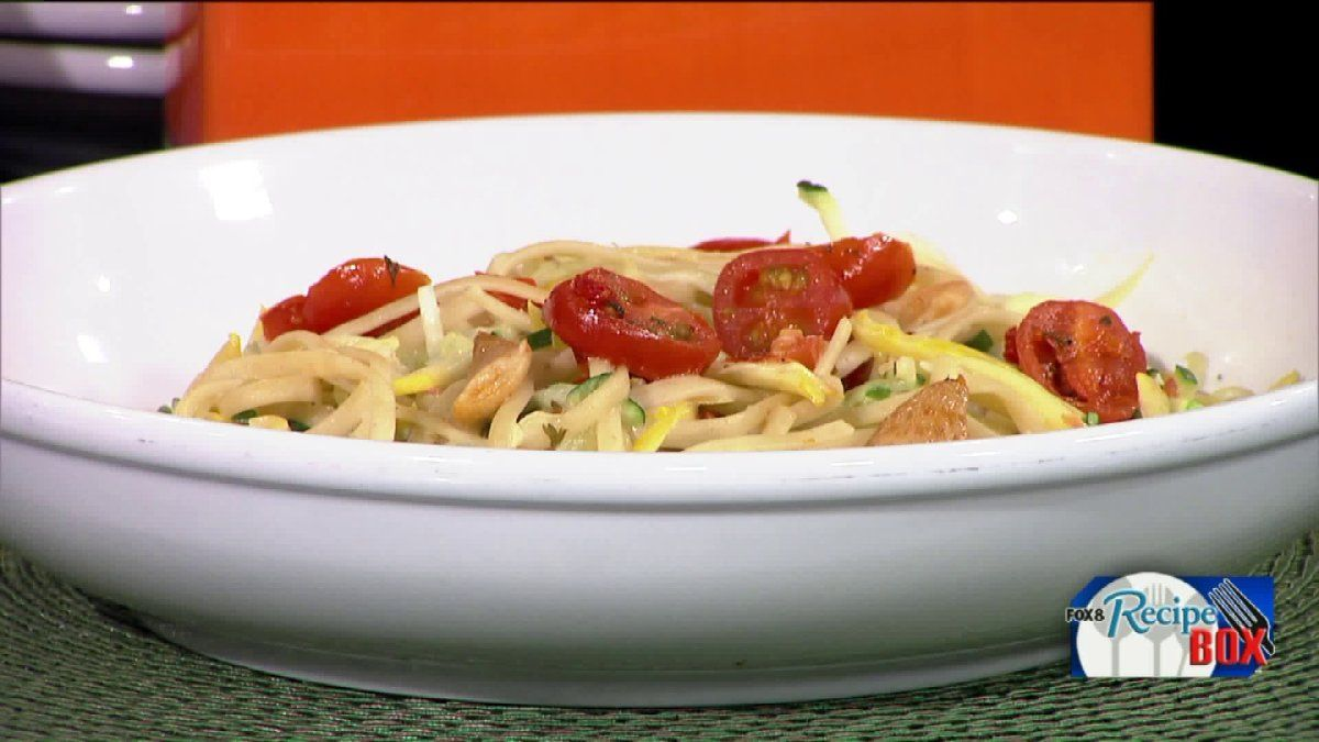 Fox 8 recipe box spiralized veggie pasta from olive