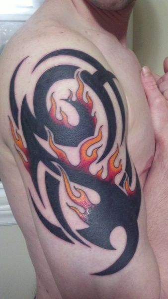 tribal flames tattoo arm shared by lion smokin ink rh pinterest com tribal flames tattoo designs tribal flame tattoo meaning