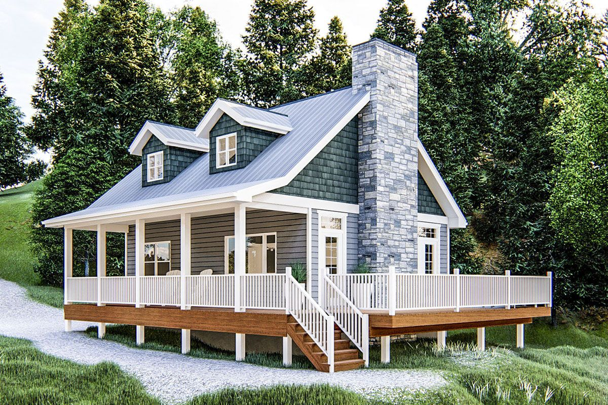 Plan 62698dj Charming Getaway Vacation Cabin In 2020 Tiny House Vacation Cabin Plans With Loft Small Cabin Plans