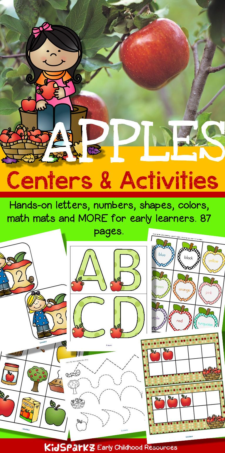 APPLES Literacy and Number Centers and Activities for Preschool and ...