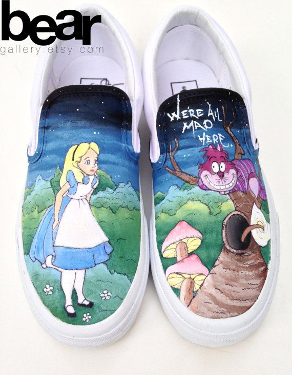 Custom Painted Alice in Wonderland Vans Shoes Hand Painted