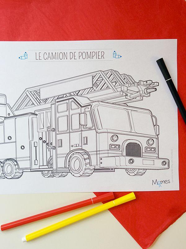 Coloriage Camion De Pompier Avec La Grande échelle Avec