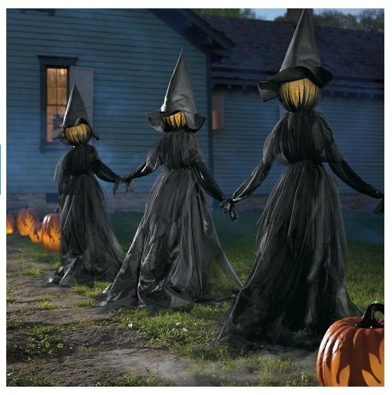 outdoor halloween witches set holding hands spooky yard patio garden decoration