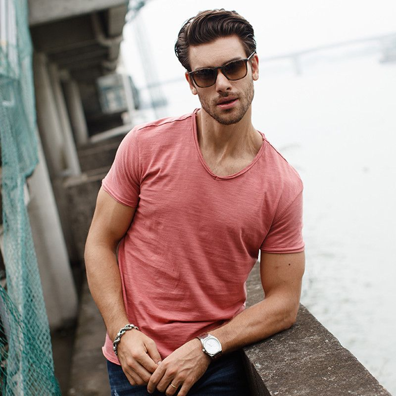a95176d0a9a892 GustOmerD New Summer Style T shirts Men Solid Color Cotton V Neck Tops Men  Slim Fit. Click visit to buy