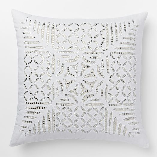 Our Sequin Cutwork Pillows Cover was inspired by the latticed cutouts of the famous Amber Fort in Jaipur, India.