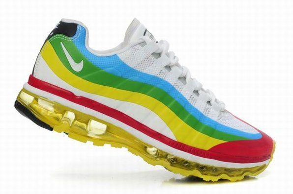 Nike Flyknit Max Green Yellow Mens Running Shoes Air Max 360
