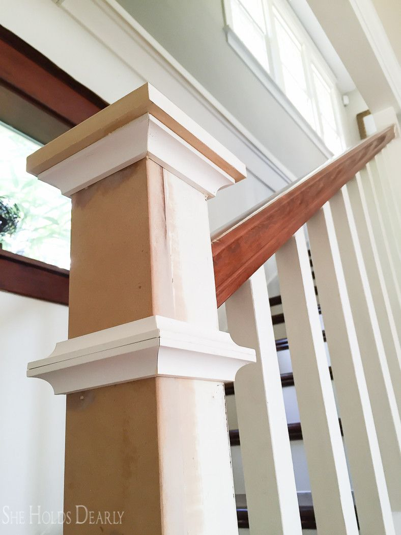 Farmhouse Newel Post Makeover She Holds Dearly Diy Staircase Stair Remodel Stair Newel Post