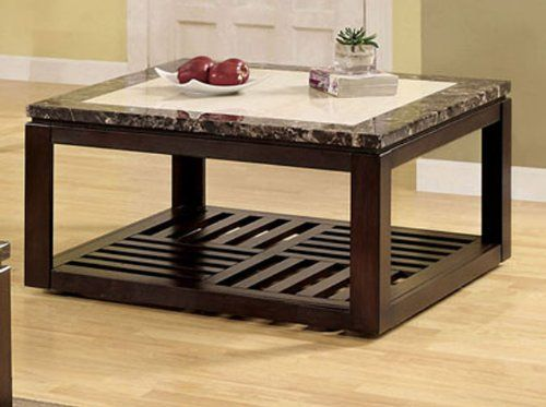 VERNON CONTEMPORARY STYLE SQUARE TWO TONED FAUX MARBLE TOP COFFEE