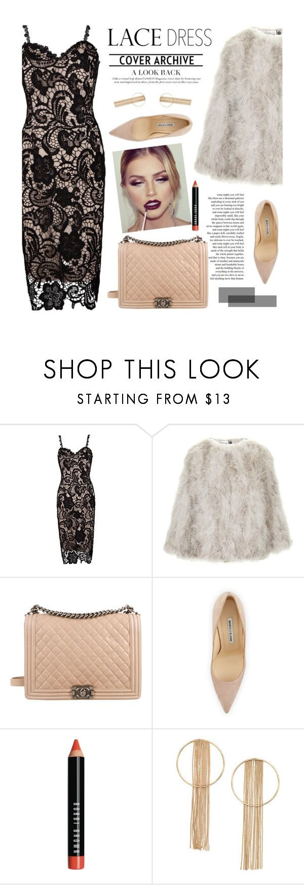 """""""Lace dress"""" by merima-kopic ❤ liked on Polyvore featuring Privé, Topshop, Chanel, Manolo Blahnik and Bobbi Brown Cosmetics"""