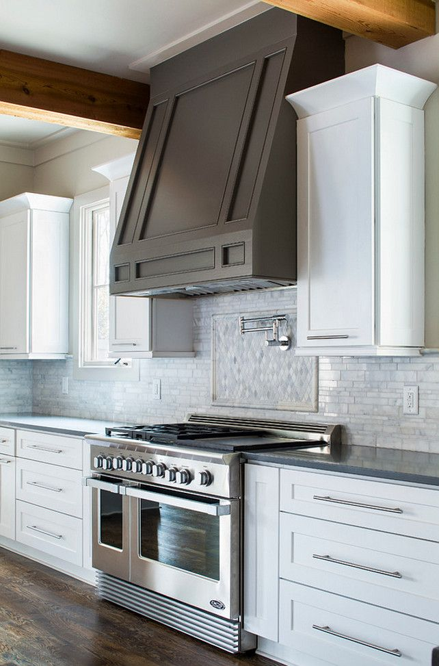 Grey Kitchen Hood White Kitchen Cabinet With Grey Hood Vikki Werbalowsky From La Bella
