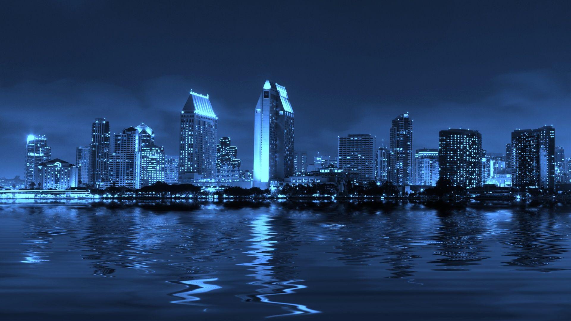 San Diego Blue Night Building Light Chile Wallpaper San