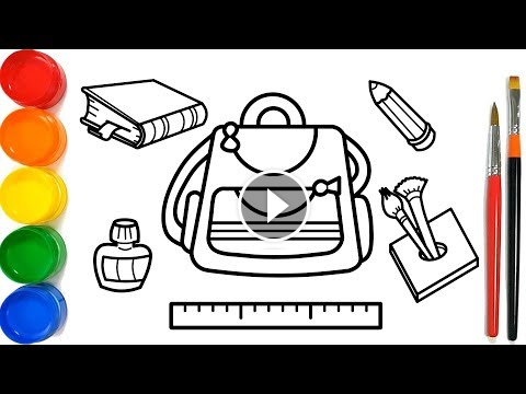 Glitter School Supplies Cute And Easy Coloring Pages For Kids