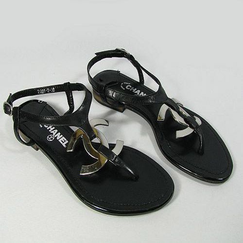 8242ee972d5 Wholesale Chanel CC logo flat sandals black C2286 wholesale. Find this Pin  and ...