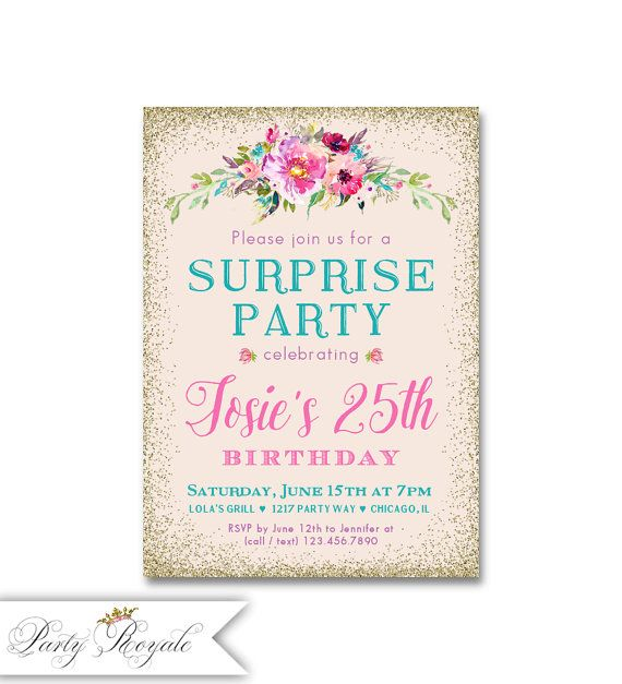 Surprise Party Invitations Womens 25th Birthday Or Any