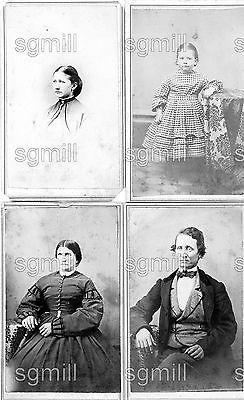 4 1860s CDV Photos New Philadelphia OH Ohio Mathias & Shull Fashion Men Women