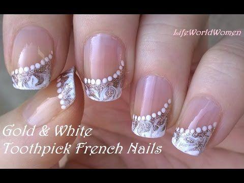 Toothpick nail art 5 gold white side french manicure design efb416602544da74a7e59807172f264fg prinsesfo Images