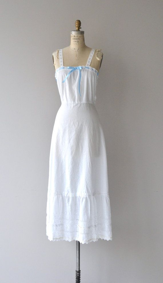 54f979ba92 Antique 1910s white cotton night dress with white eyelet and blue ribbon at  neckline (ribbon is new)