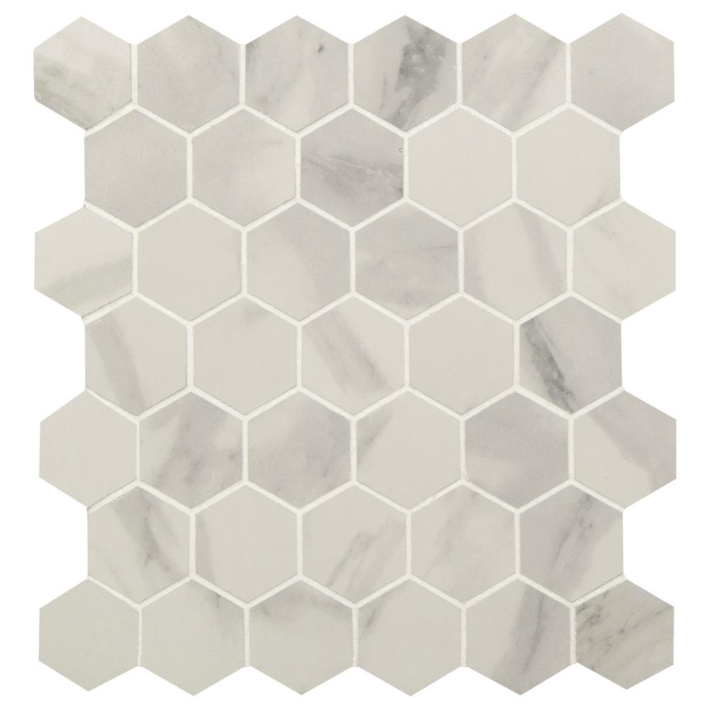 Msi Strata Hexagon 12 In X 12 In X 10mm Matte Ceramic Mesh Mounted Mosaic Tile 1 Sq Ft Nhdstr2x2hex The Home Depot In 2020 Mosaic Tiles Mosaic Flooring