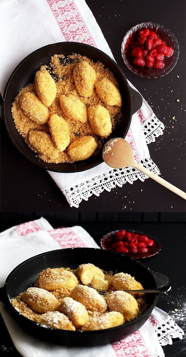 Potted dumplings with butter crumbs - -