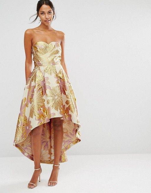 Chi Chi London Bardot Metallic Jacquard Midi Dress with High Low Hem ...