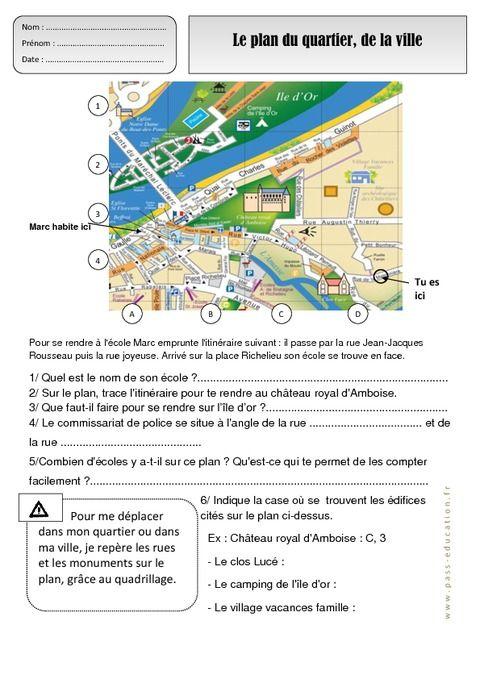 se repérer sur une carte ce2 Plan du quartier   Ville   Représenter l'espace   Ce1   Exercices