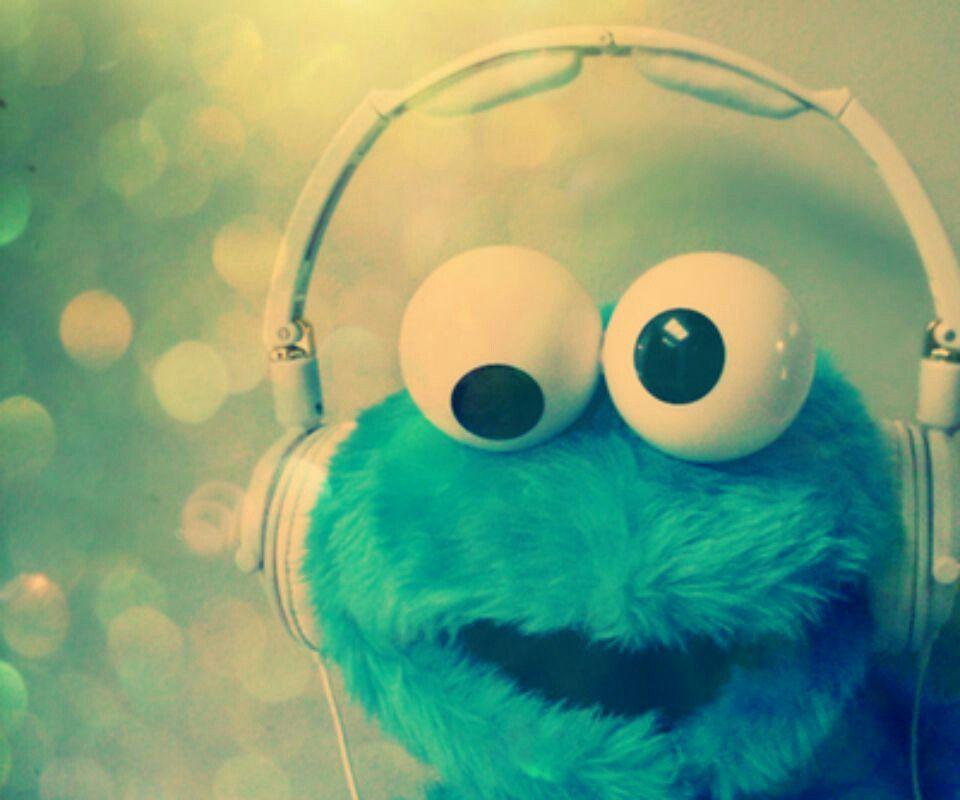Cookie Monster Loves Music Too Cute Tumblr Wallpaper Cookie