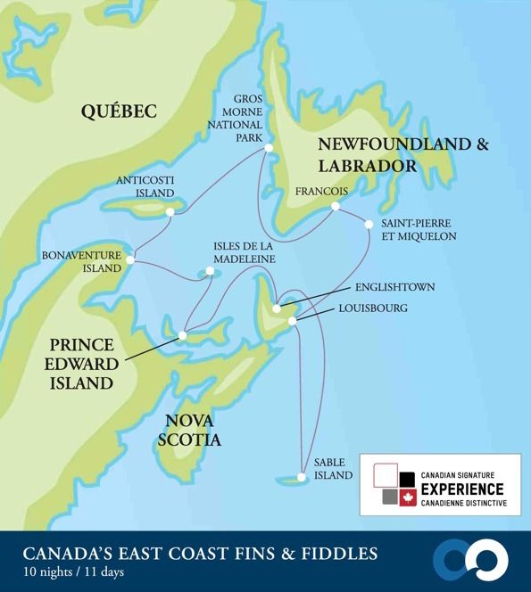 Map Of Eastern Canada Islands Map of eastern Canada by One Ocean Expeditions | Sable island