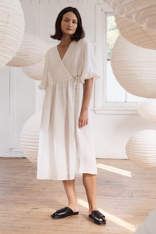 Yoko Dress Rice White Wrap Around Dress Dresses Fashion [ 5345 x 3563 Pixel ]