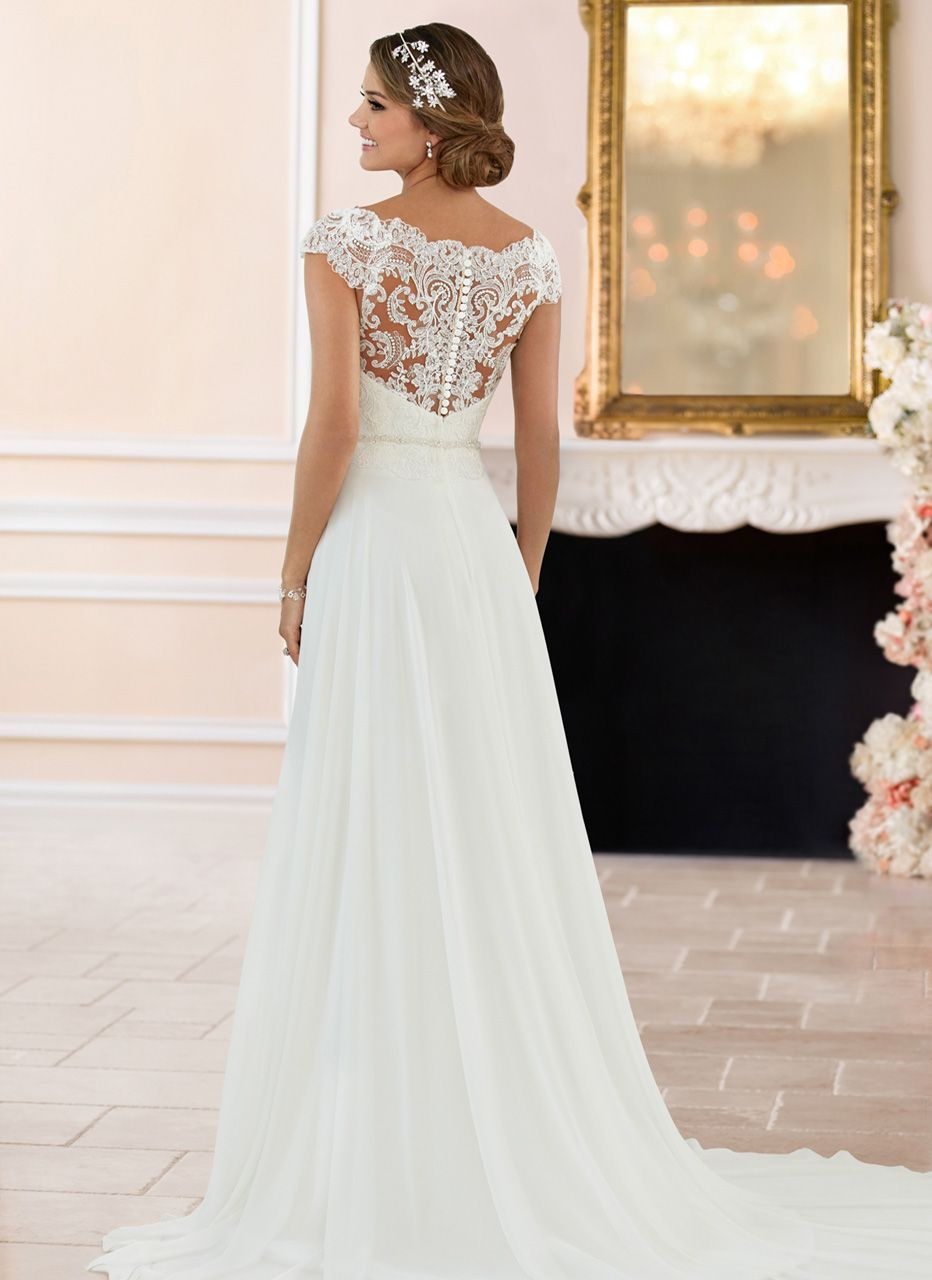 Classy white lace chiffon wedding dresscap sleeves bridal dress