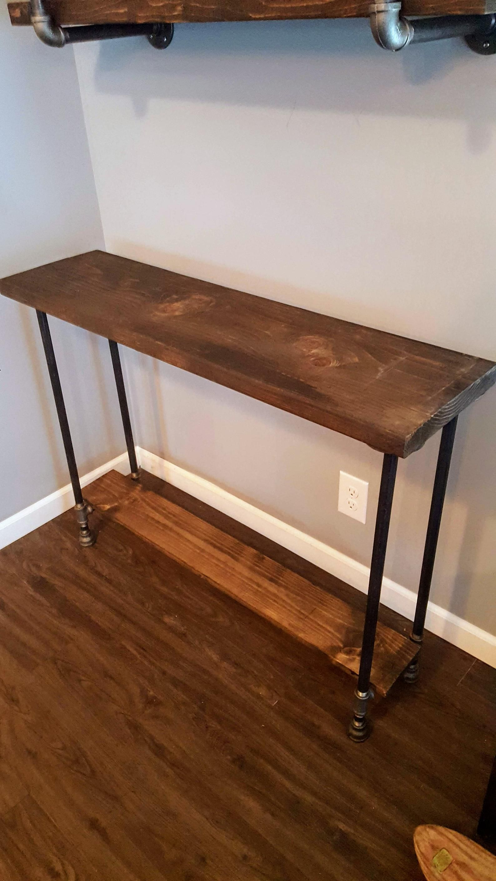 - Narrow Console Table With Shelf, Buffet Table, Reclaimed Wood
