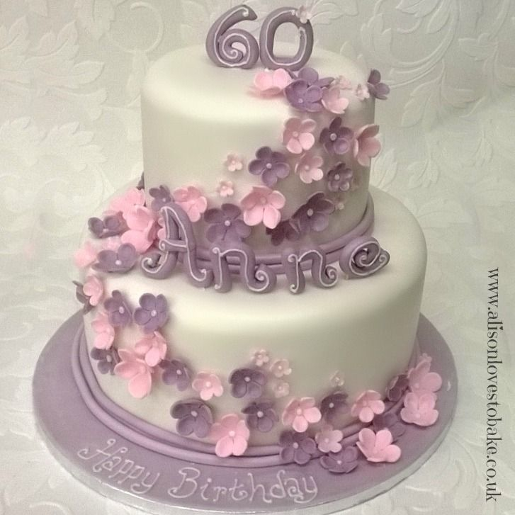 Lilac and pink 2 tier birthday cake Tiffany cake Pinterest
