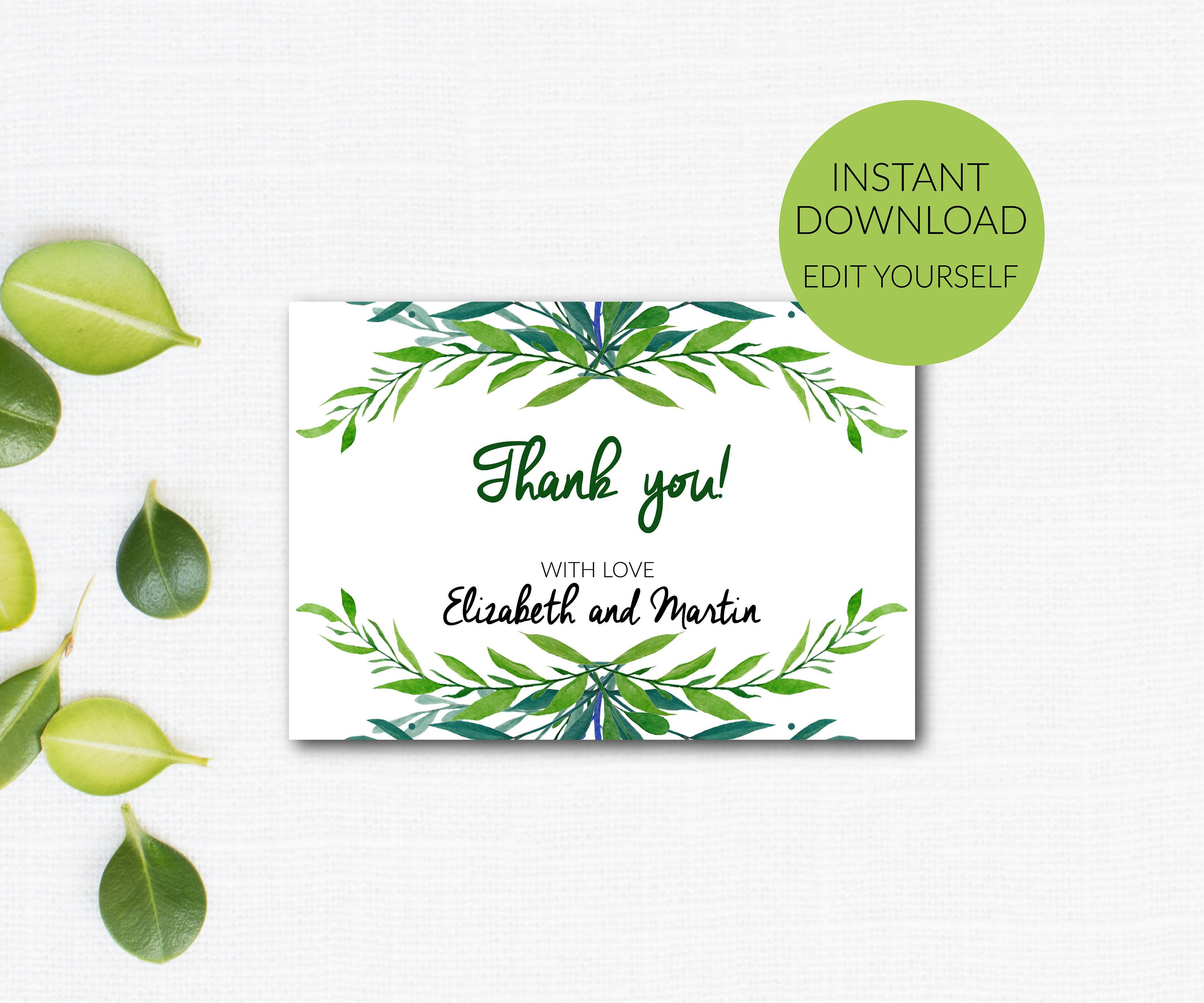 Thank You Card Editable Thank You Thank You Template Etsy Rsvp Wedding Cards Thank You Cards Free Wedding Invitation Templates