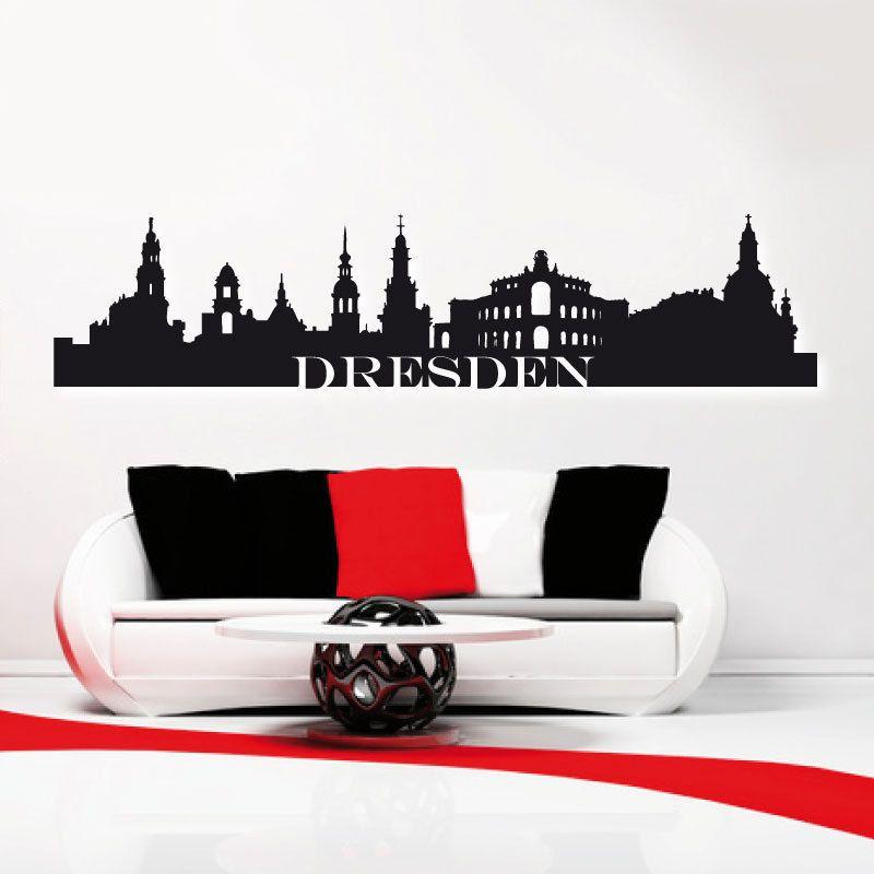 Perfect Details zu Skyline Dresden Wandtattoo Stadt Dresden Silhouette XXL Aufkleber
