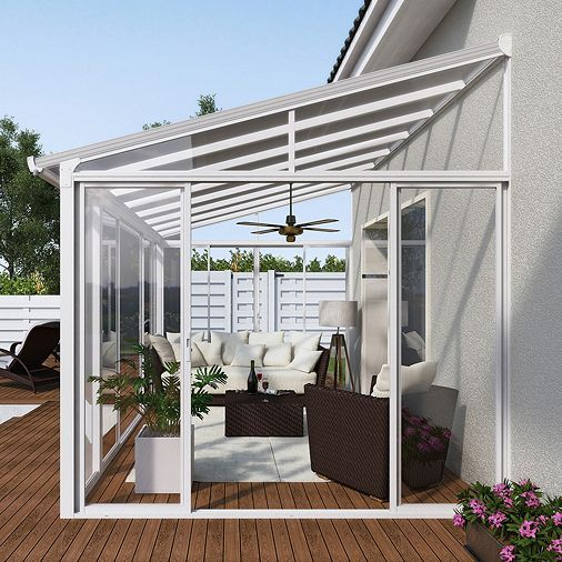 Tesco direct: Palram SanRemo Lean To Conservatory 3x4.25 White ...