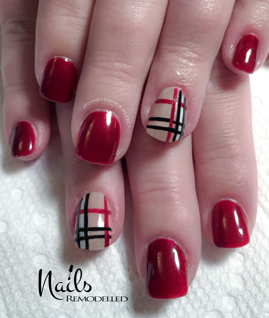 Burberry style dark red acrylic nails with gel overlay. #nails ...