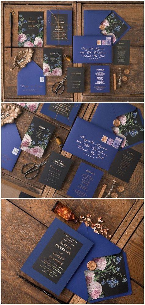 Vintage blaue und schwarze Glitzer-Hochzeits-Einladungen 02Gvinz #Hochzeiten #Hochzeitsseite …   – アイデア