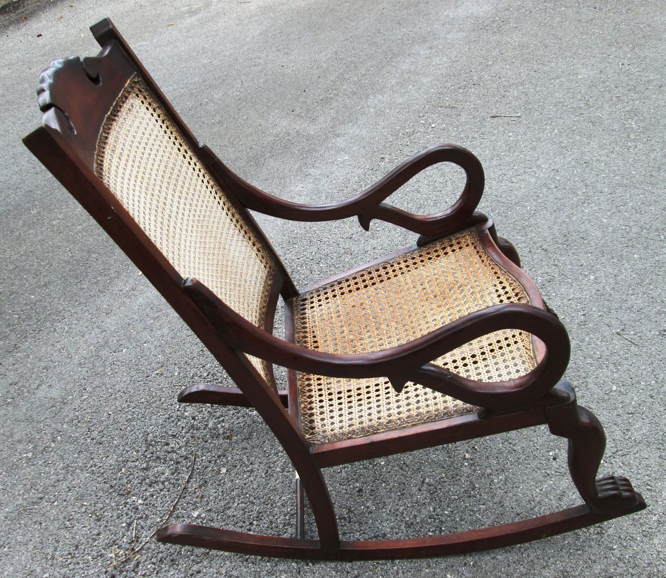 Great Antique Barbados Mahogany Rocking Chair With Caned Bottom And Back