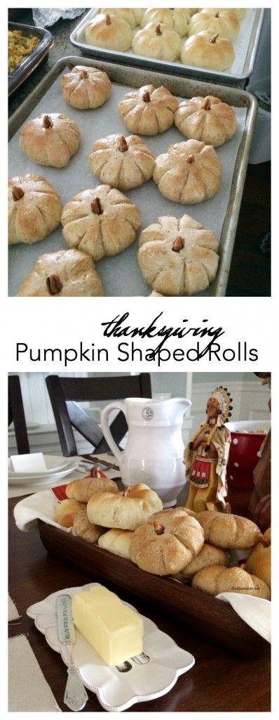 Pumpkin Shaped Rolls #thanksgivingrecipes