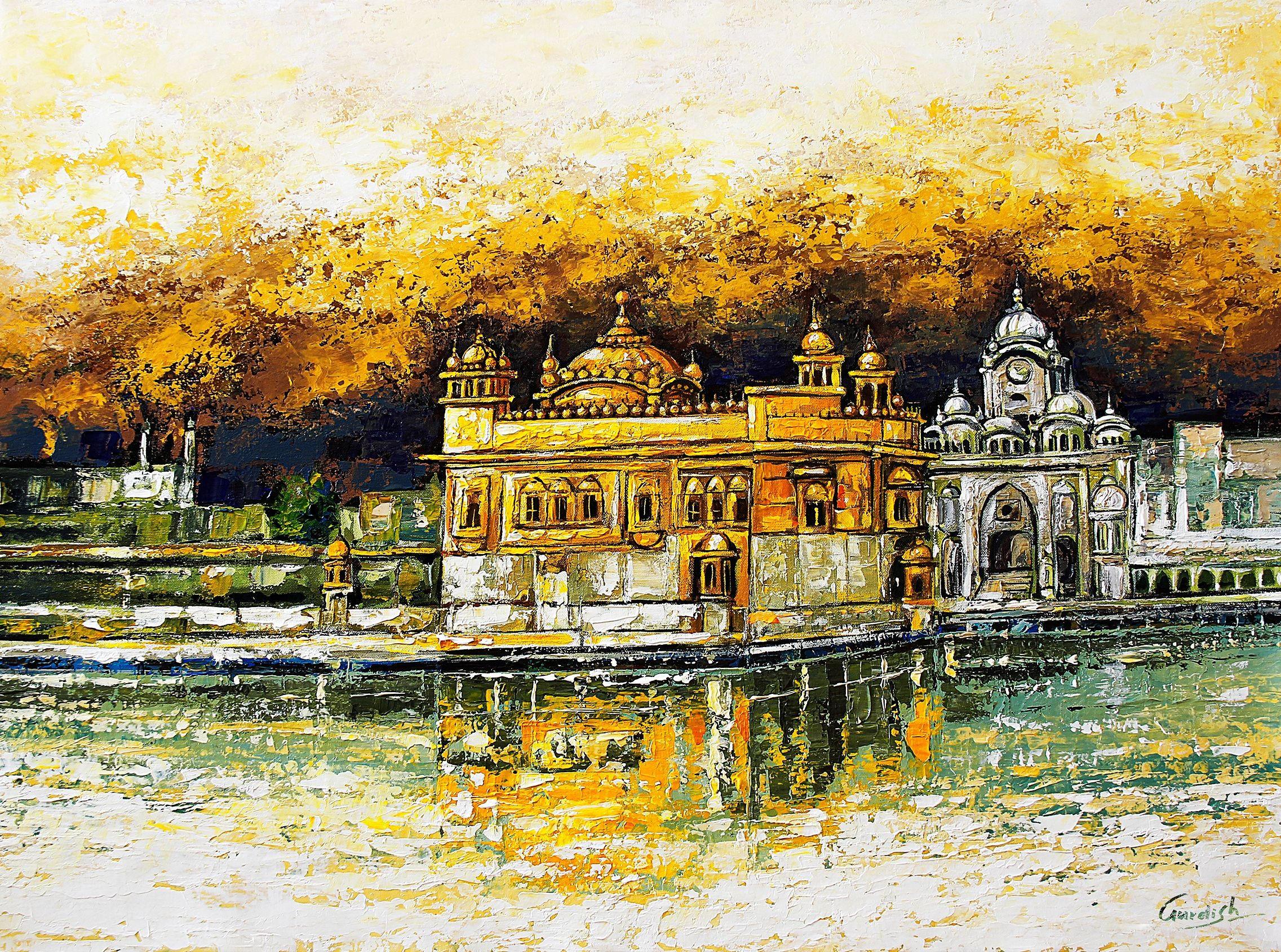 It S A Beautiful Landscapepainting Of Goldentemple Which Is Painted In The Shade Of Gold Acrylic Color The Artis Golden Temple Painting Landscape Paintings