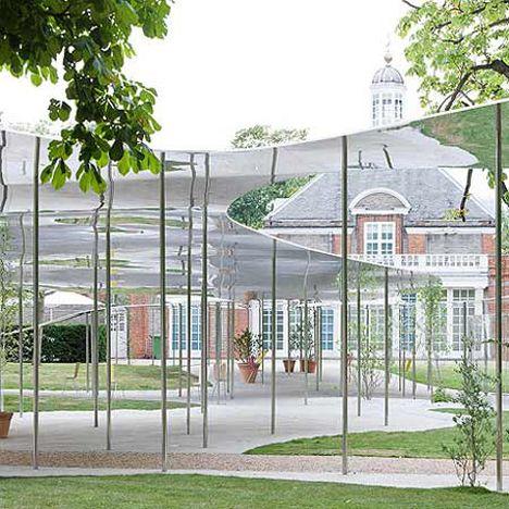 Serpentine Gallery Pavilions London Him Mirror Finish Aluminium Structure Reflects Nature Garden Canopy Pavilion Canopy Design