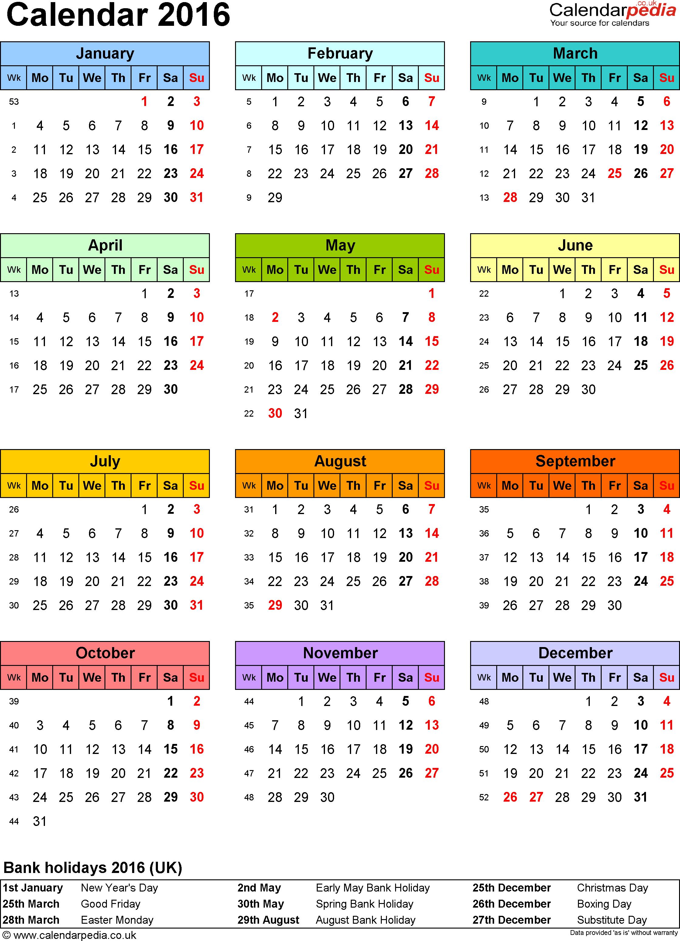 2016 Calendar Free Large Images Calendar 2019 Printable Calendar 2019 Template Yearly Calendar Template