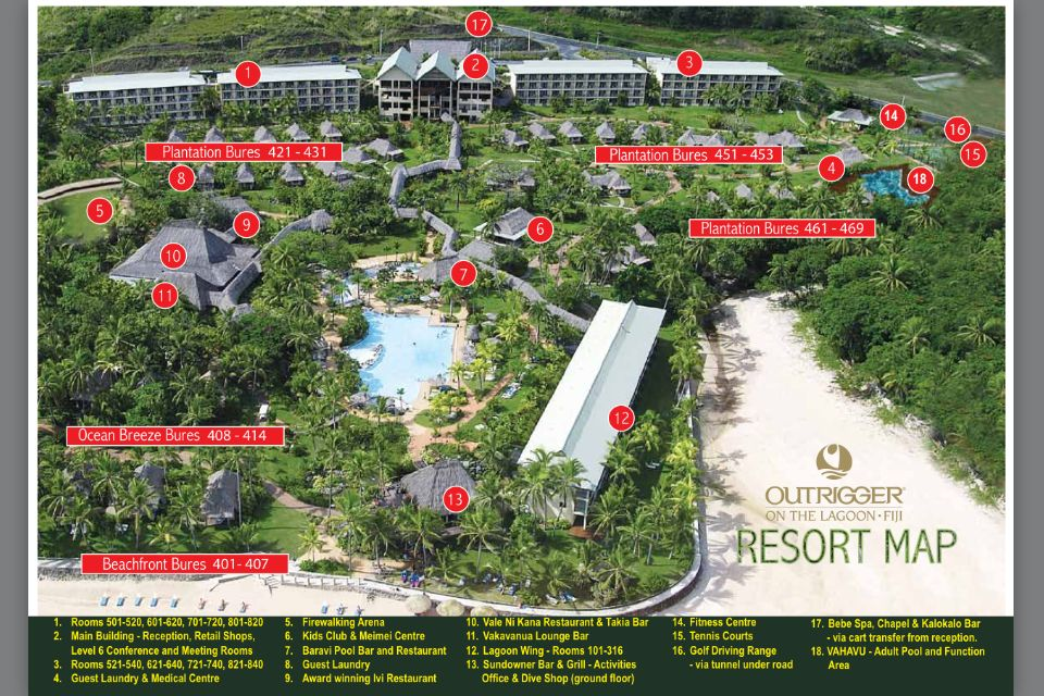 Fiji Resort Map Outrigger on the Lagoon