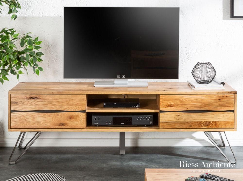 Massives Tv Board Living Edge 160cm Wildeiche Geolt Baumkanten