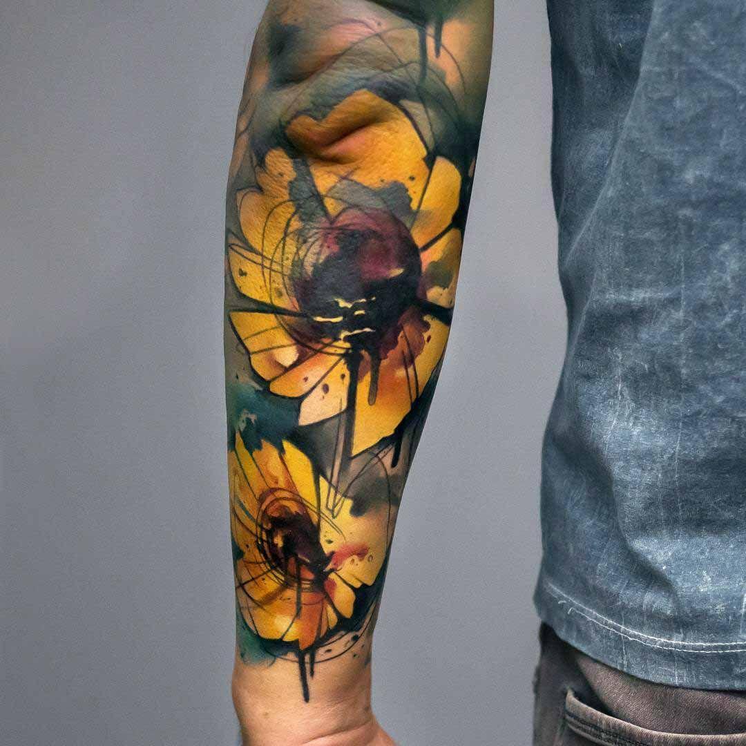 Watercolor Sunflowers Tattoo On Forearm Best Tattoo Ideas Gallery Tatuajes Girasoles Tatuaje Girasol En Acuarela Tatuajes Impresionantes